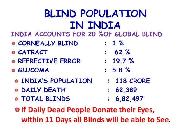essay on eye donation india Eye donation can help 12l blind indians: doctors - according to a study published in 2011, there are around 45 million blind people in the world, of which 12 million are in india, accounting for a quarter of global blindness.