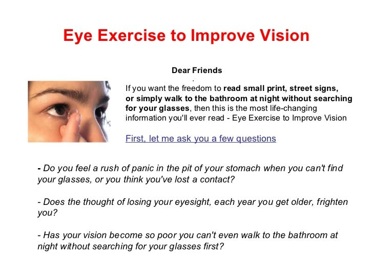 What are some eye exercises you can do to improve vision?