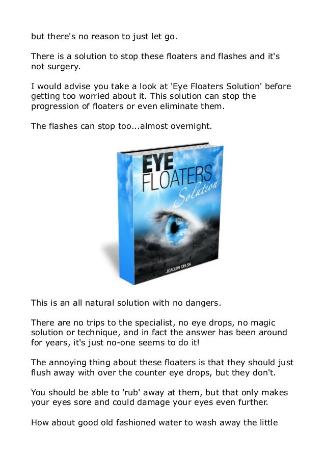How To Eliminate Eye Floaters Naturally