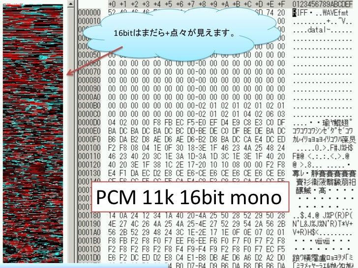 16bitはまだら+点々が見えます。PCM 11k 16bit mono                      39 / 83