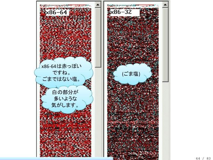 x86-64は赤っぽい    ですね。      (ごま塩)ごまではない塩。  白の部分が  多いような  気がします。                      44 / 83