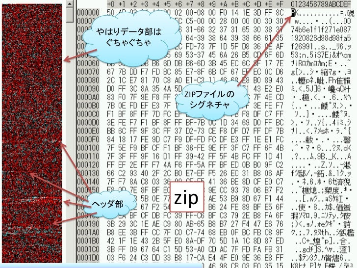やはりデータ部は ぐちゃぐちゃ            ZIPファイルの             シグネチャヘッダ部       zip                       47 / 83