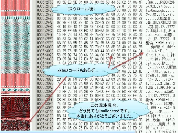 (スクロール後)x86のコードもあるぞ…         この混沌具合、      どう見てもunallocatedです。     本当にありがとうございました。                            63 / 83