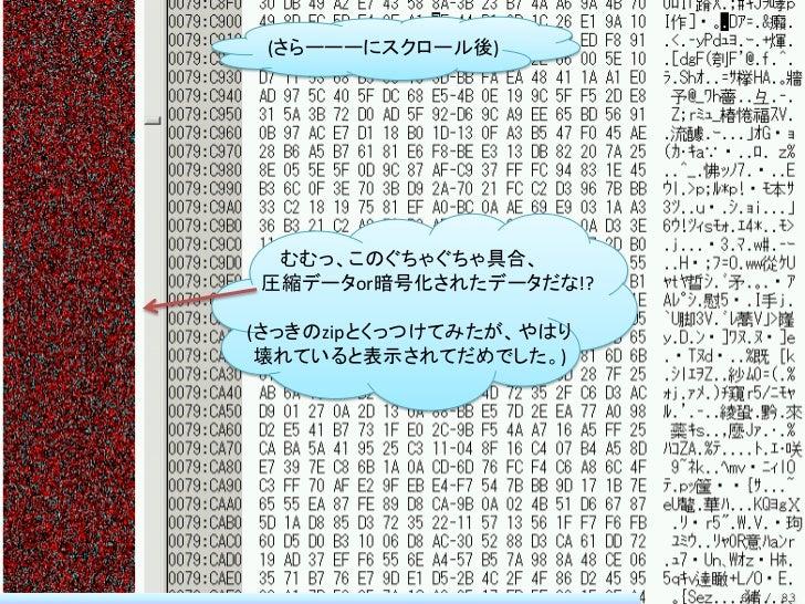 (さらーーーにスクロール後) むむっ、このぐちゃぐちゃ具合、圧縮データor暗号化されたデータだな!?(さっきのzipとくっつけてみたが、やはり 壊れていると表示されてだめでした。)                        66 / 83