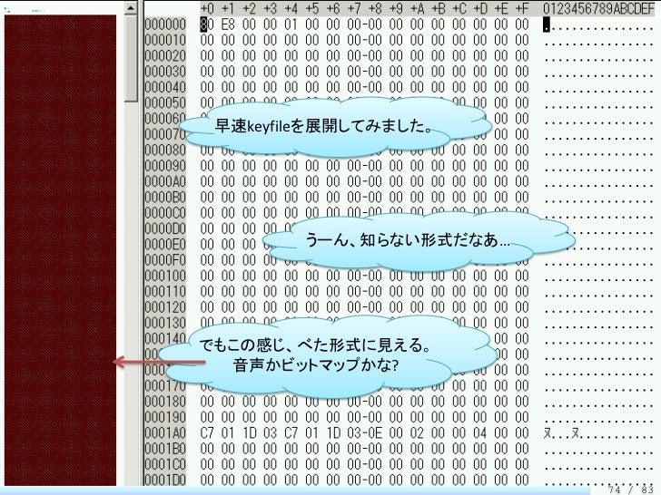 早速keyfileを展開してみました。        うーん、知らない形式だなあ…でもこの感じ、べた形式に見える。  音声かビットマップかな?                         74 / 83
