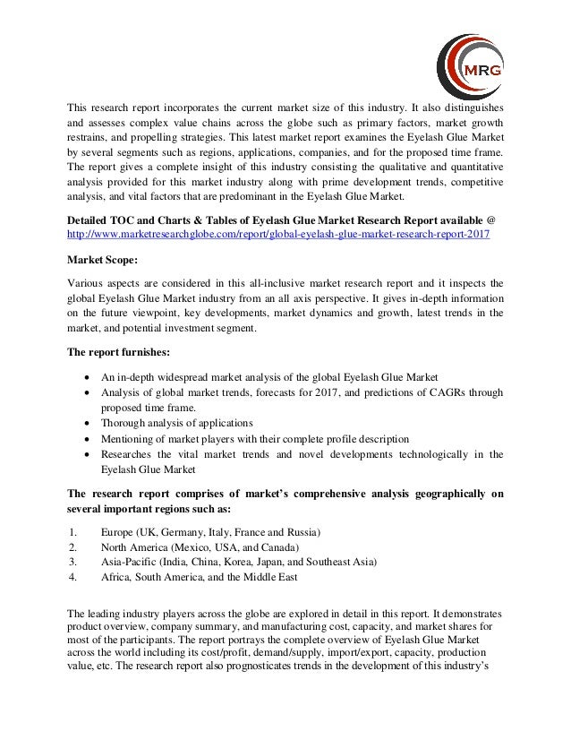 Eyelash Glue Market - Global Trends, Market Share, Industry