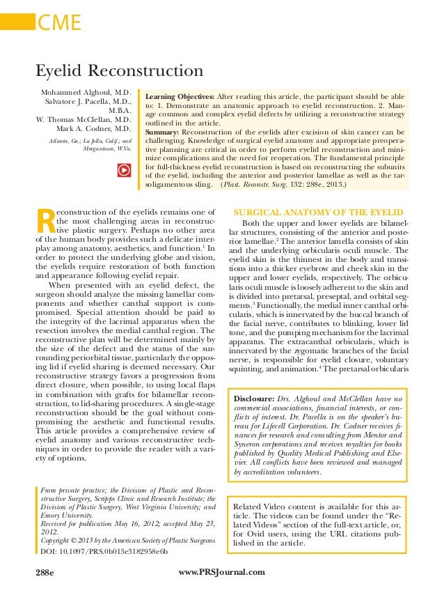 www.PRSJournal.com288e R econstruction of the eyelids remains one of the most challenging areas in reconstruc- tive plasti...