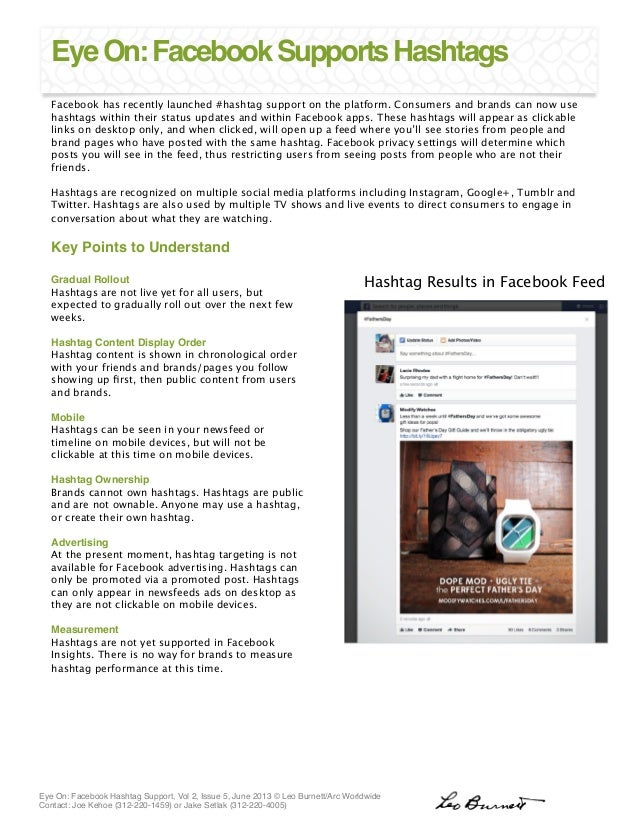 Eye On: Facebook Hashtag Support, Vol 2, Issue 5, June 2013 © Leo Burnett/Arc Worldwide 