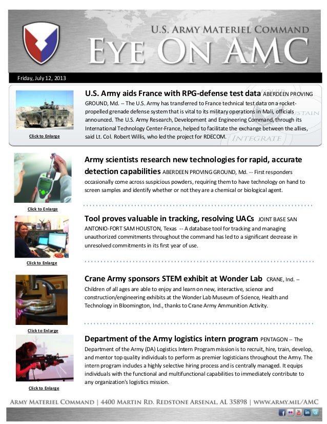 Friday, July 12, 2013 Click to Enlarge Click to Enlarge Click to Enlarge Click to Enlarge Army scientists research new tec...