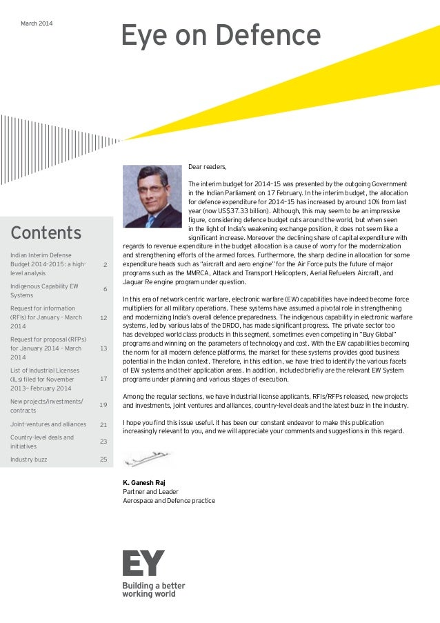 Contents title Contents subjects March 2014 Eye on Defence Dear readers, The interim budget for 2014–15 was presented by t...