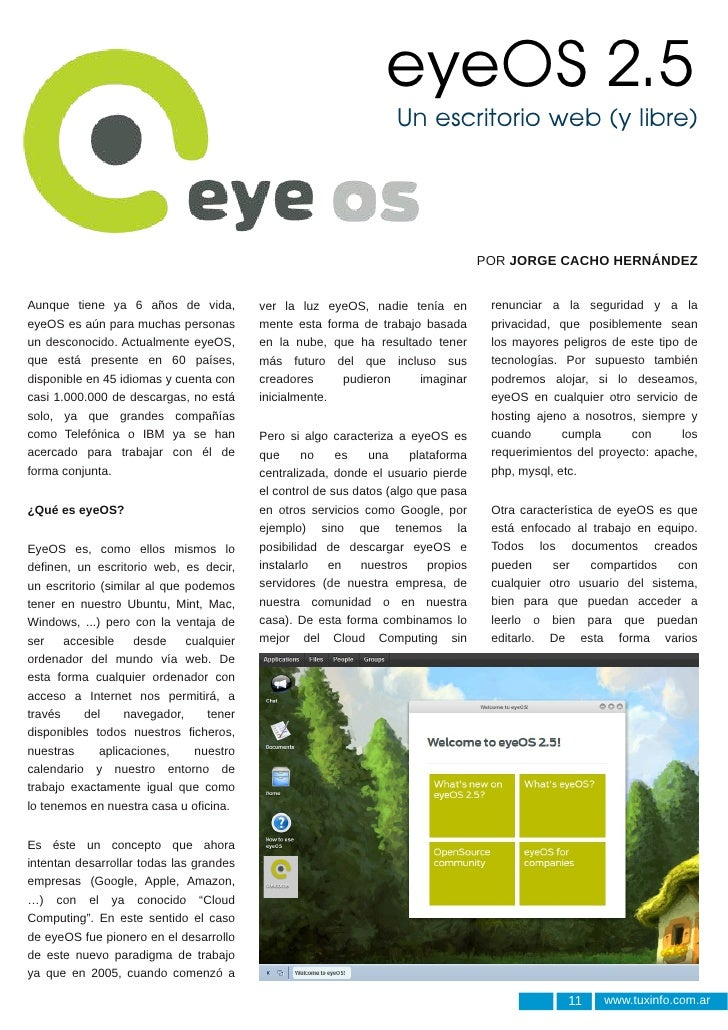 eyeOS 2.5                                                                     Un escritorio web (y libre)                 ...