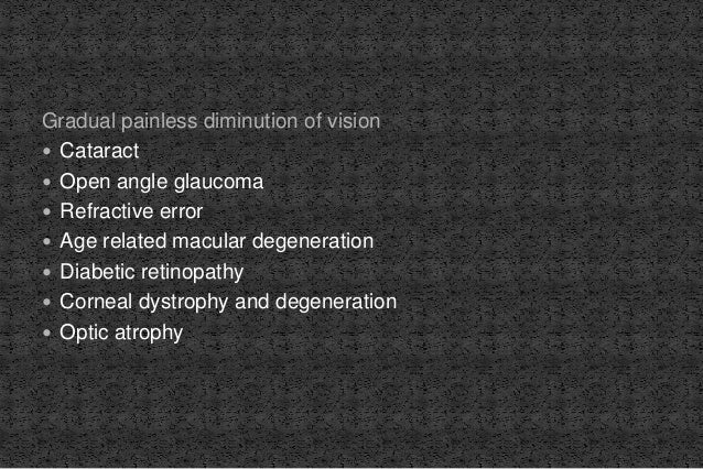 Gradual painless diminution of vision  Cataract  Open angle glaucoma  Refractive error  Age related macular degenerati...