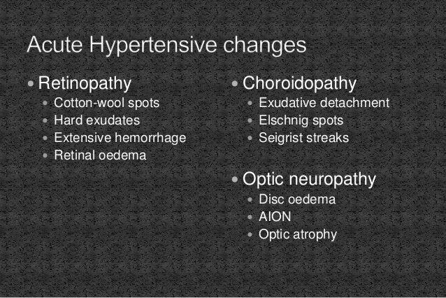  Retinopathy  Cotton-wool spots  Hard exudates  Extensive hemorrhage  Retinal oedema  Choroidopathy  Exudative deta...