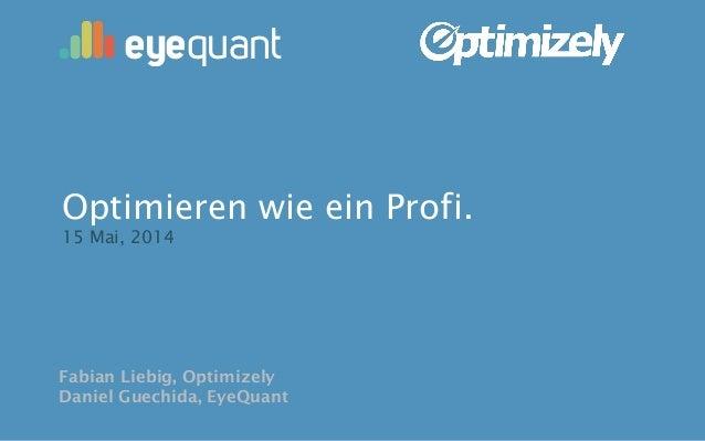 Fabian Liebig, Optimizely Daniel Guechida, EyeQuant Optimieren wie ein Profi. 15 Mai, 2014 eyequant