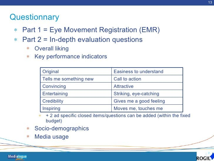 Questionnary <ul><li>Part 1 = Eye Movement Registration (EMR) </li></ul><ul><li>Part 2 = In-depth evaluation questions </l...