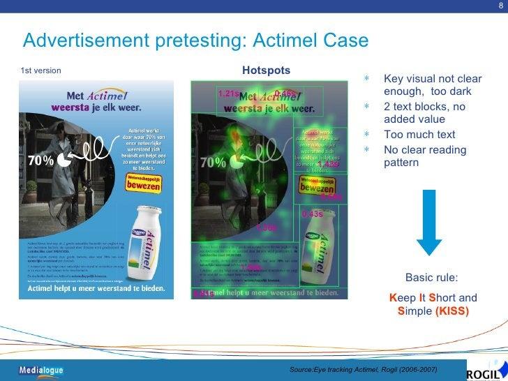 Advertisement pretesting: Actimel Case <ul><li>Key visual not clear enough,  too dark </li></ul><ul><li>2 text blocks, no ...