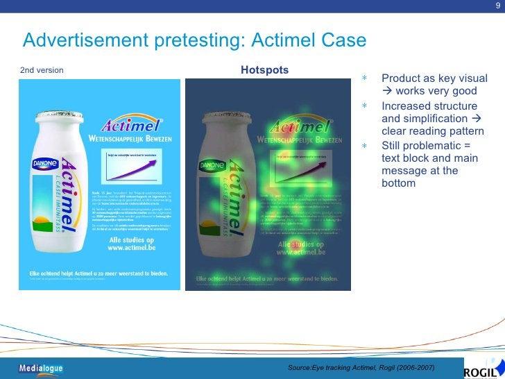 Advertisement pretesting: Actimel Case <ul><li>Product as key visual    works very good </li></ul><ul><li>Increased struc...
