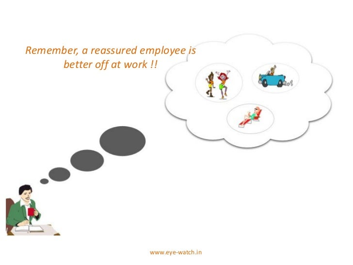 Remember, a reassured employee is     better off at work !!                        www.eye-watch.in
