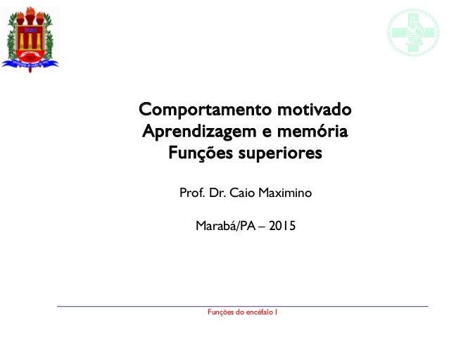 Funções do encéfalo I Comportamento motivado Aprendizagem e memória Funções superiores Prof. Dr. Caio Maximino Marabá/PA –...