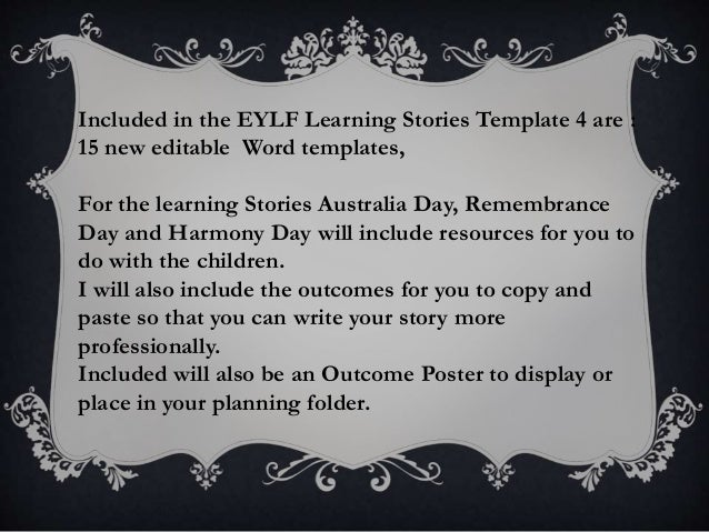 eylf microsoft word editable learning stories template 4