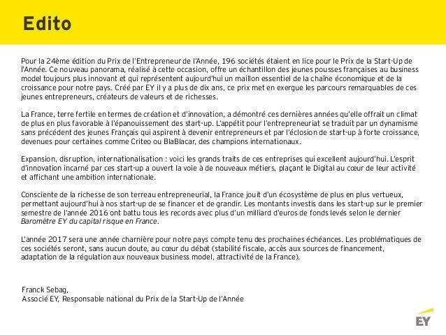 Franck Sebag, Associé EY, Responsable national du Prix de la Start-Up de l'Année Pour la 24ème édition du Prix de l'Entrep...