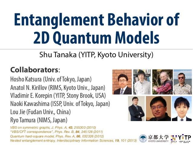 Entanglement Behavior of  2D Quantum Models  Shu Tanaka (YITP, Kyoto University)  Collaborators:  Hosho Katsura (Univ. of ...