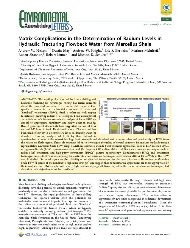 Letter pubs.acs.org/journal/estlcu  Matrix Complications in the Determination of Radium Levels in Hydraulic Fracturing Flo...