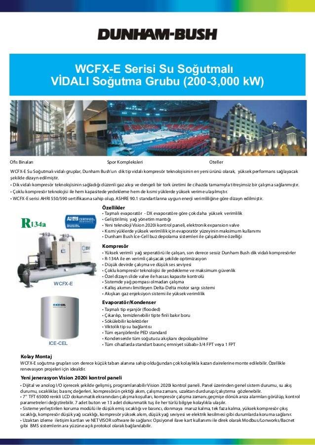 WCFX-E Serisi Su Soğutmalı VİDALI Soğutma Grubu (200-3,000 kW) WCFX-E ICE-CEL WCFX-E Su Soğutmalı vidalı gruplar, Dunham B...