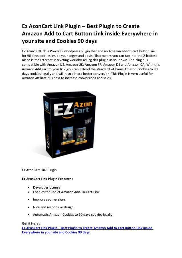 Ez AzonCart Link Plugin – Best Plugin to Create Amazon Add to Cart Button Link inside Everywhere in your site and Cookies ...