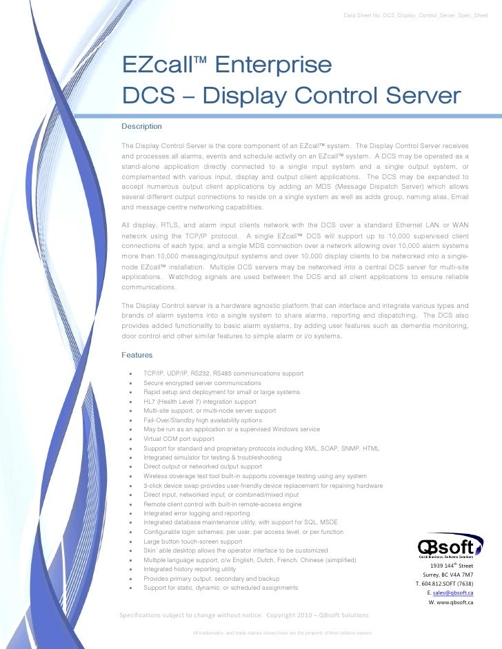 Data Sheet No. DCS_Display_Control_Server_Spec_SheetEZcall™ EnterpriseDCS – Display Control ServerDescriptionThe Display C...