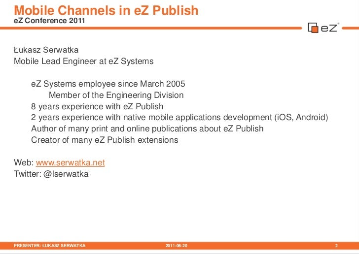 Mobile Channels in eZ Publish Slide 2