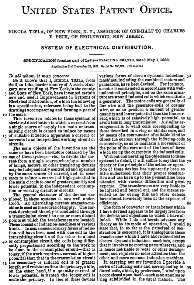 0381970 tesla system of electrical distribution