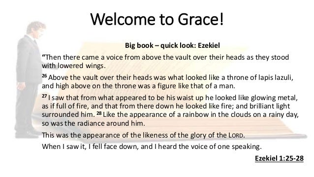 "Welcome to Grace! Big book – quick look: Ezekiel ""Then there came a voice from above the vault over their heads as they st..."