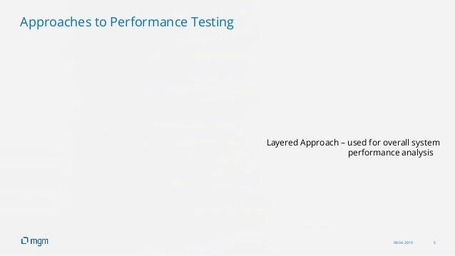 08.04.2019 5 Layered Approach – used for overall system performance analysis Approaches to Performance Testing