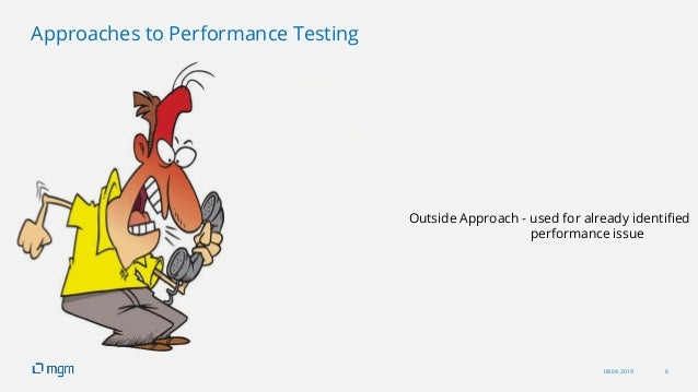 08.04.2019 6 Outside Approach - used for already identified performance issue Approaches to Performance Testing