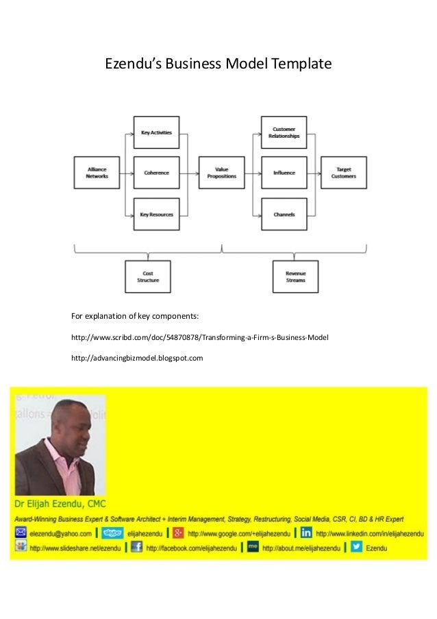 Ezendu's Business Model Template  For explanation of key components: http://www.scribd.com/doc/54870878/Transforming-a-Fir...