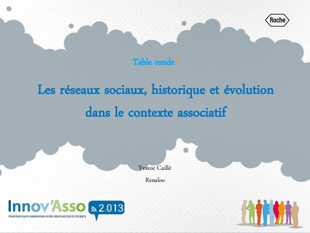 Table ronde1 Les réseaux sociaux, historique et évolution dans le contexte associatif Yvanie Caillé Renaloo