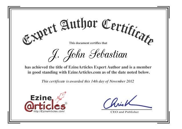 J. John Sebastian This certificate is awarded this 14th day of November 2012