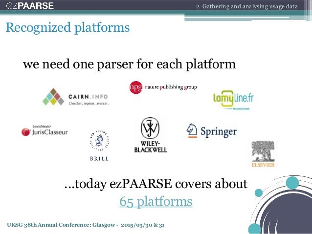UKSG 38th Annual Conference: Glasgow - 2015/03/30 & 31 we need one parser for each platform Recognized platforms ...today ...