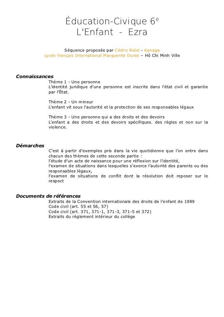 Éducation-Civique 6e                      LEnfant - Ezra                    Séquence proposée par Cédric Ridel - Kanaga   ...