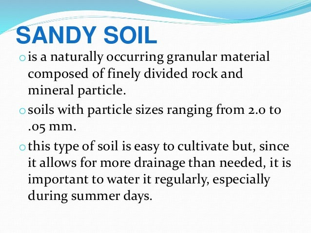 Classification of soil for Soil particles definition