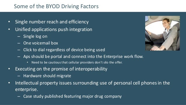 Some of the BYOD Driving Factors• Single number reach and efficiency• Unified applications push integration    –   Single ...