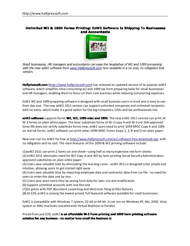 Unlimited W2 & 1099 Forms Printing: EzW2 Software Is Shipping To Busi…