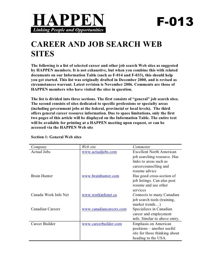 F-013 CAREER AND JOB SEARCH WEB SITES The following is a list of selected career and other job search Web sites as suggest...