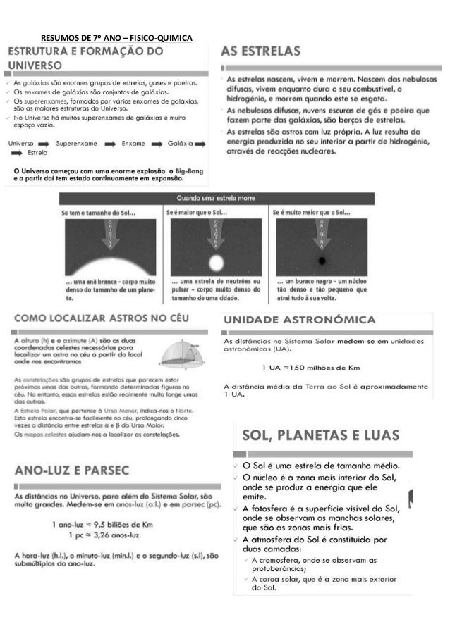 RESUMOS DE 7º ANO – FISICO-QUIMICA