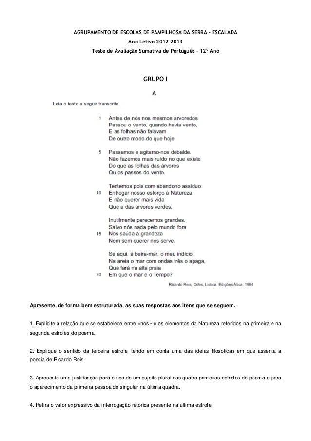 AGRUPAMENTO DE ESCOLAS DE PAMPILHOSA DA SERRA – ESCALADA Ano Letivo 2012-2013 Teste de Avaliação Sumativa de Português – 1...