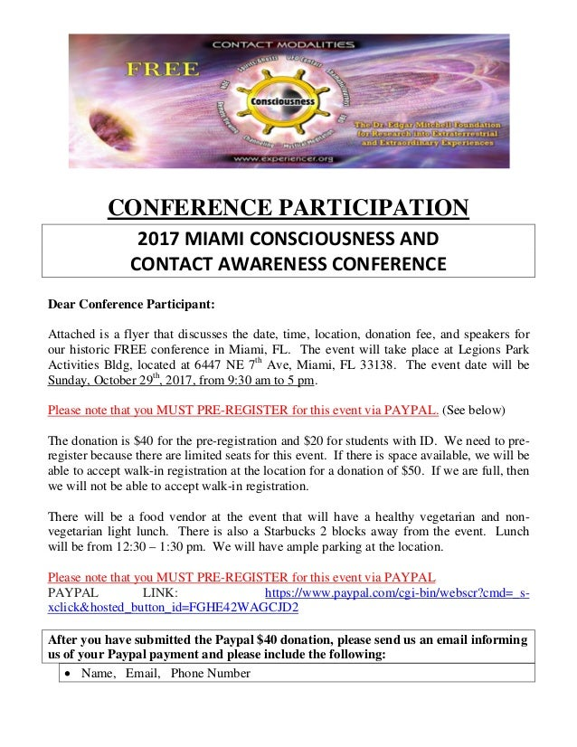 Frees conference oct 2017 miami consciousness and contact awar conference participation 2017 miami consciousness and contact awareness conference dear conference participant attached i malvernweather Gallery