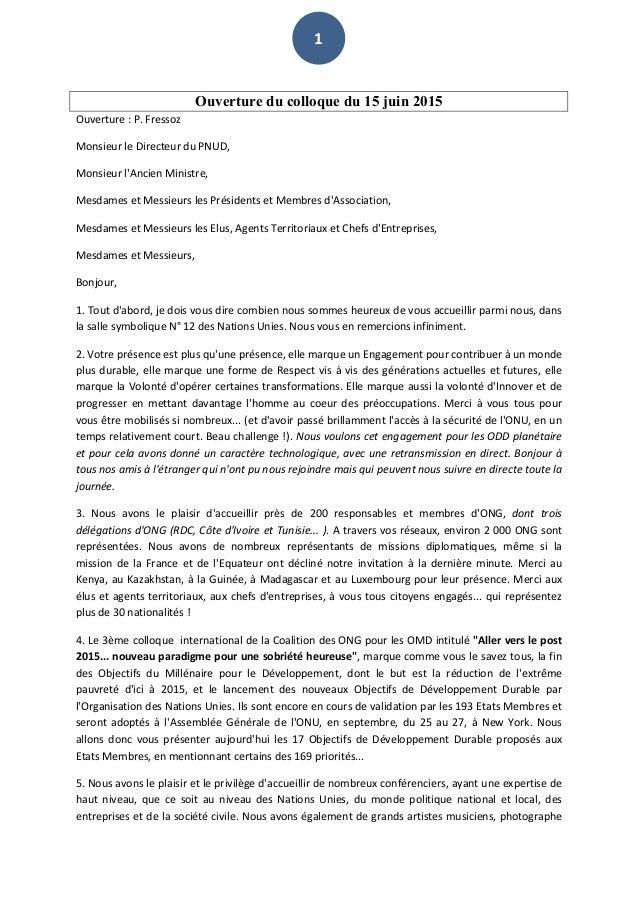 1   Ouverture du colloque du 15 juin 2015 Ouverture  :  P.  Fressoz   Monsieur  le  Directeur  du  PNU...