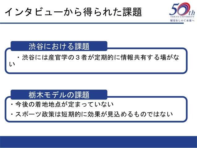 インタビューから得られた課題 ・・渋谷には産官学の3者が定期的に情報共有する場がな い ・今後の着地地点が定まっていない ・スポーツ政策は短期的に効果が見込めるものではない 渋谷における課題 栃木モデルの課題