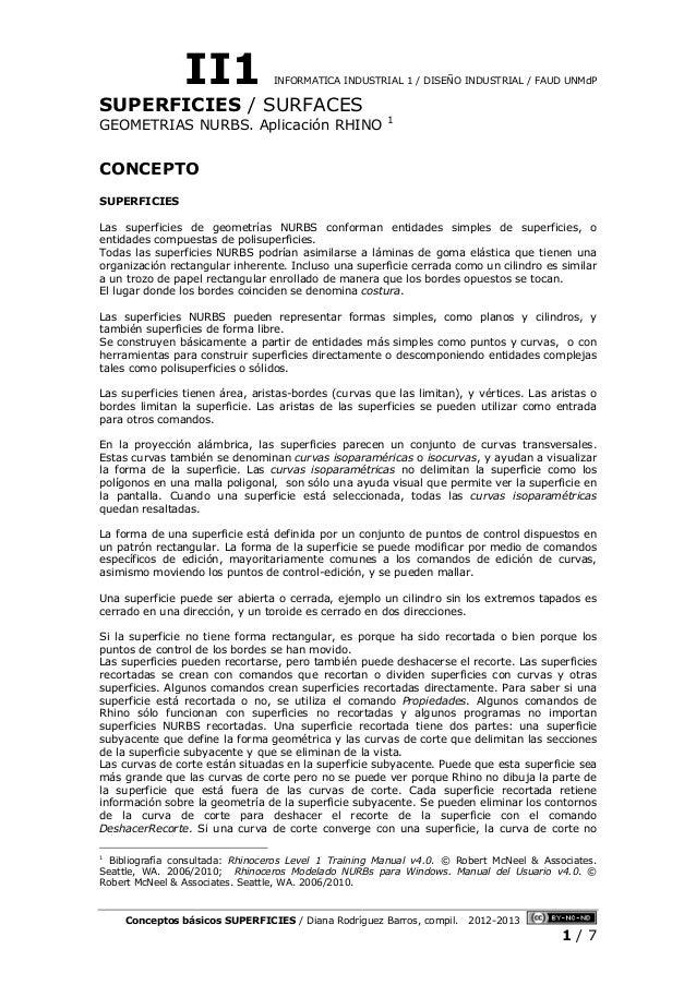 II1 INFORMATICA INDUSTRIAL 1 / DISEÑO INDUSTRIAL / FAUD UNMdP Conceptos básicos SUPERFICIES / Diana Rodríguez Barros, comp...